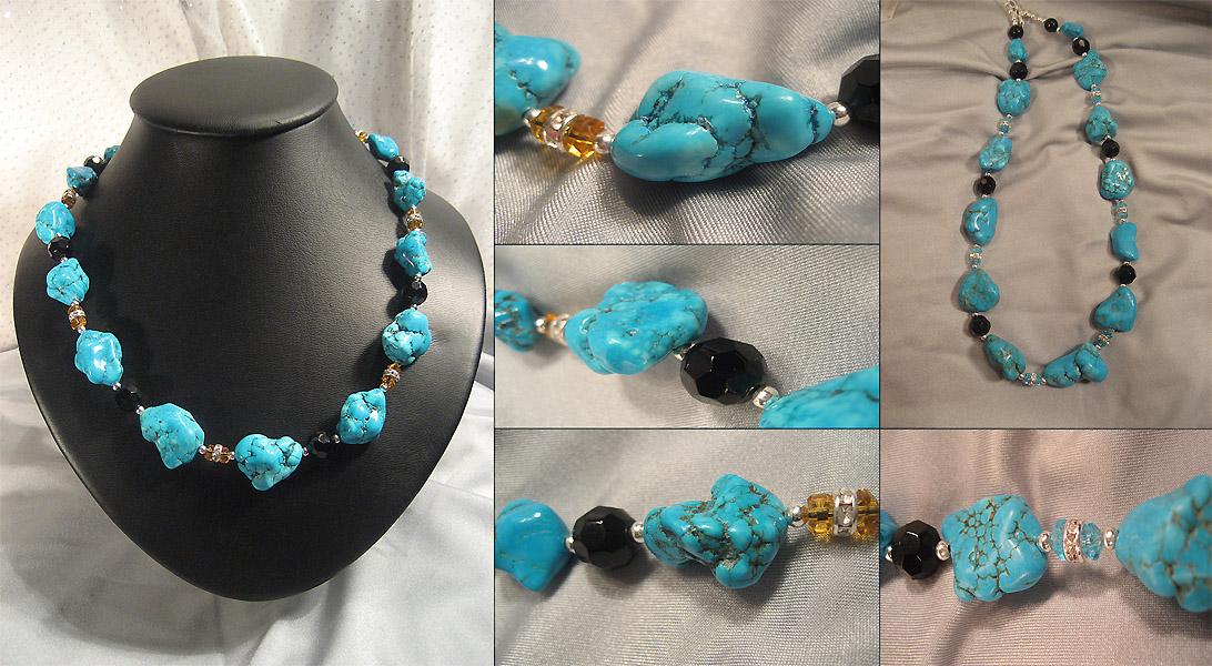 0f830cc9b943 Эксклюзивные украшения из бисера и полудрагоценных камней    Колье    722.  Бусы Аризонская бирюза и агат